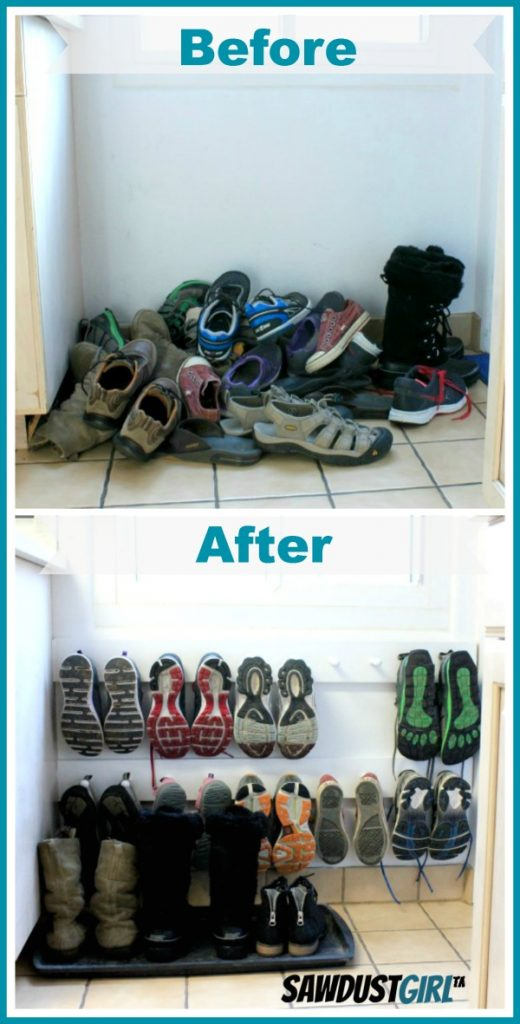 Before and After Shoe Organization