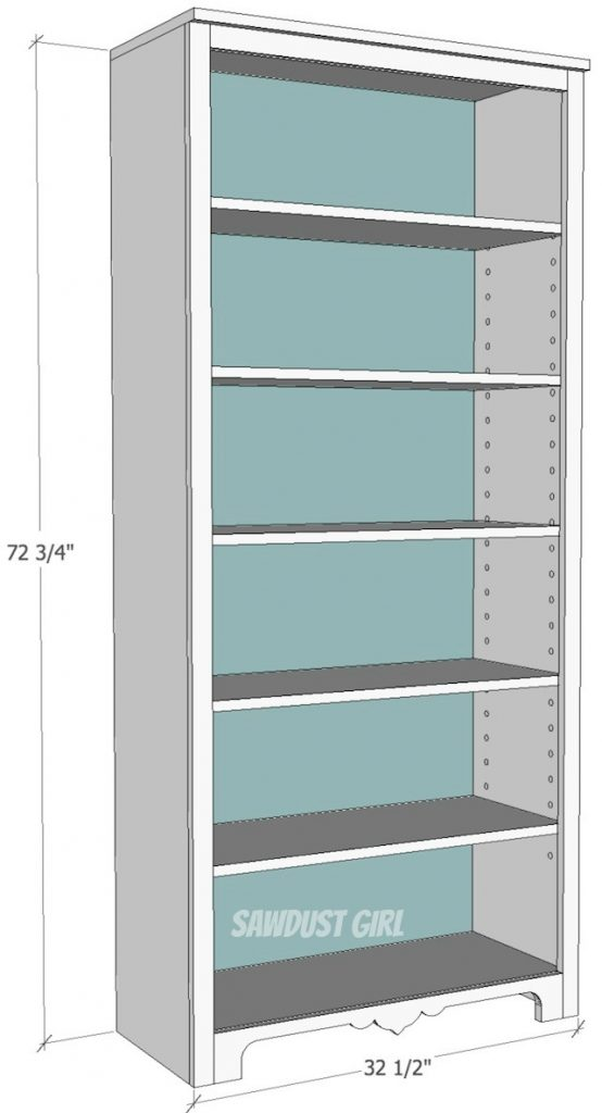 Tall Bookcase with Adjustable Shelves - Sawdust Girl®
