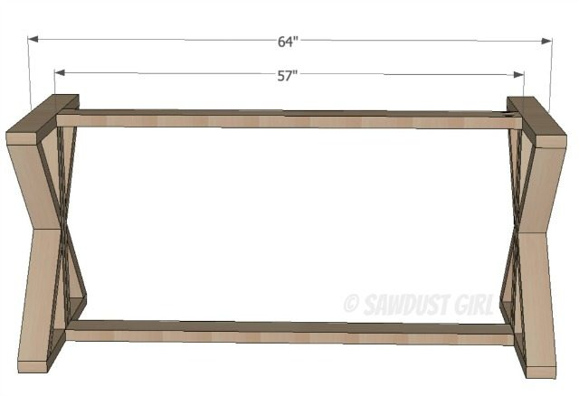 Diy X Base Dining Table Free Woodworking Plans Sawdust Girl