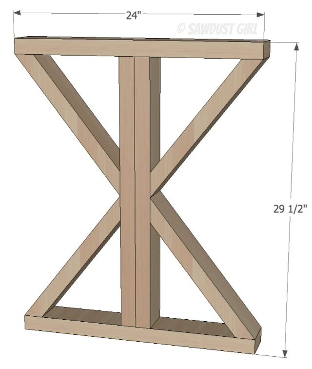 DIY X Base Dining Table Free Woodworking Plans Sawdust