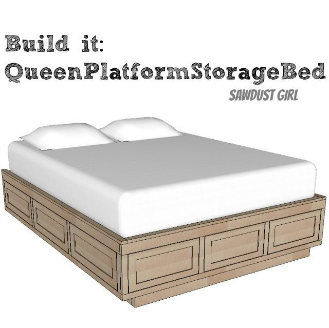 Queen size platform storage bed plans sawdust girl - Plans for platform bed with storage drawers ...