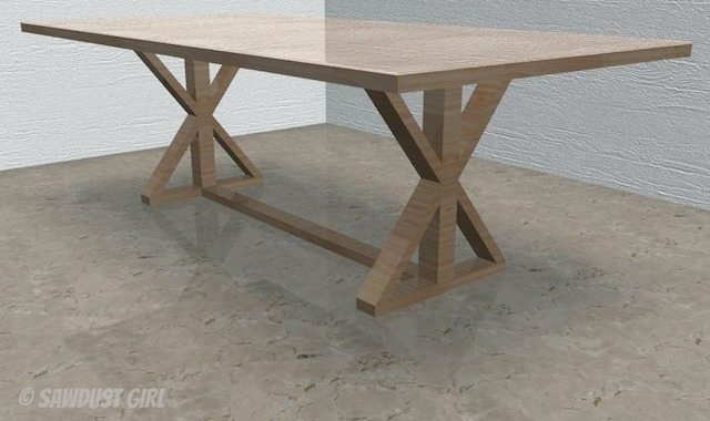 Pdf diy x leg dining table plans download workbench plans for Farmhouse table plans with x legs