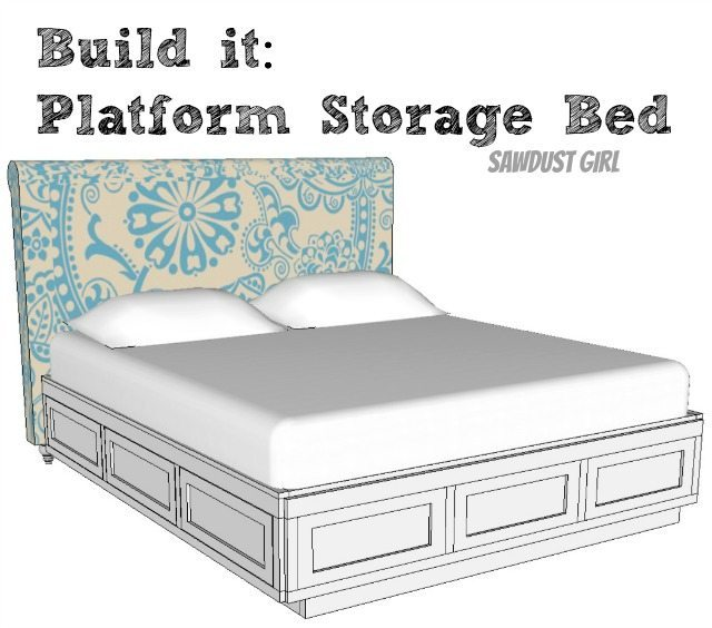 Cal king platform storage bed sawdust girl - Plans for platform bed with storage drawers ...