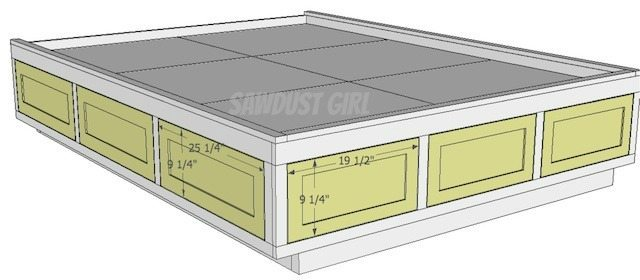 Queen size platform bed frame with storage drawers sawdust girl - Plans for platform bed with storage drawers ...