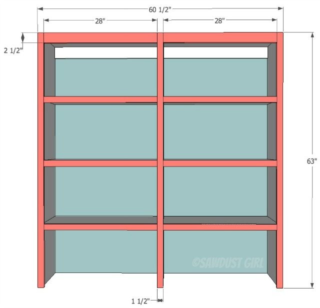 faceframe with fixed shelves