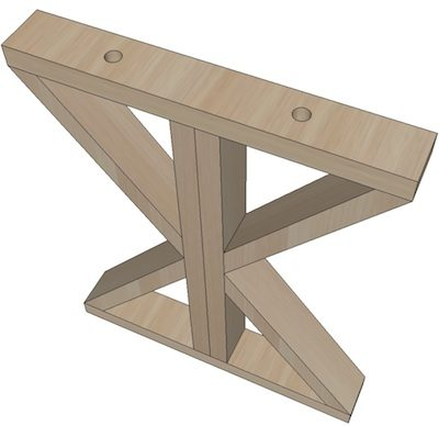 X base farmhouse table plans from SawdustGirl.com