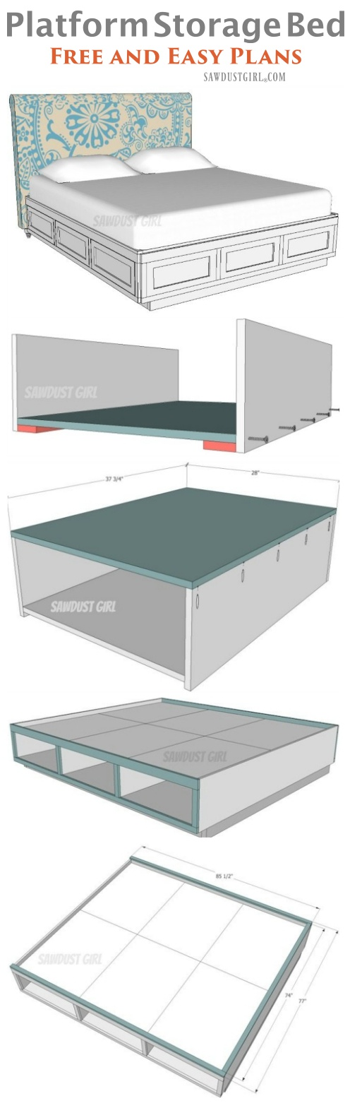 Build a platform storage bed with free plans!