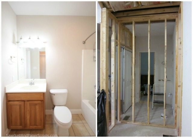 Powder Room before/after - SawdustGirl.com