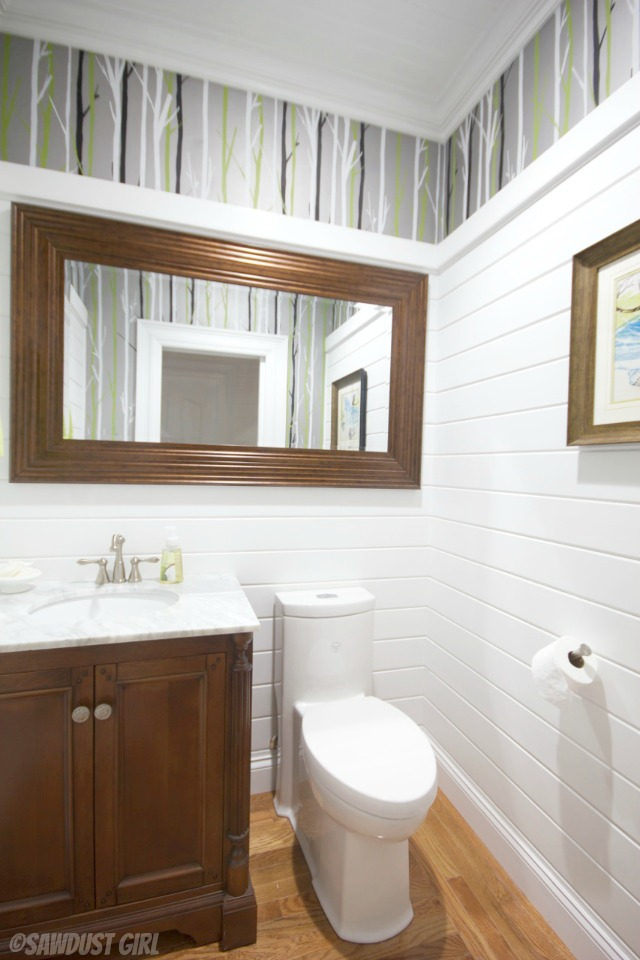 Powder Room Reveal - SawdustGirl.com