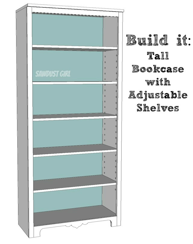 Free Plans to build a tall bookshelf with adjustable shelves from Sawdust Girl.