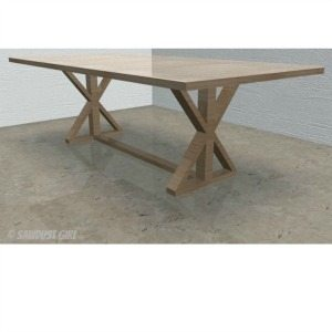 DIY X Base Dining Table – free woodworking plans
