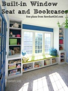 Built-in window seat and storage cabinets – free plans