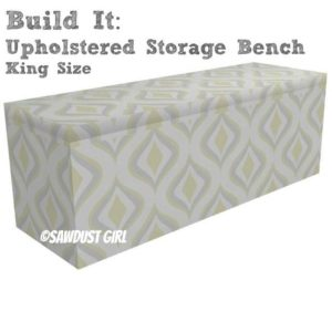King size Upholstered Storage Bench