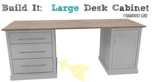 DIY office desk -large base cabinet