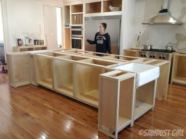 Kitchen island sawdust girl for Build kitchen island with cabinets
