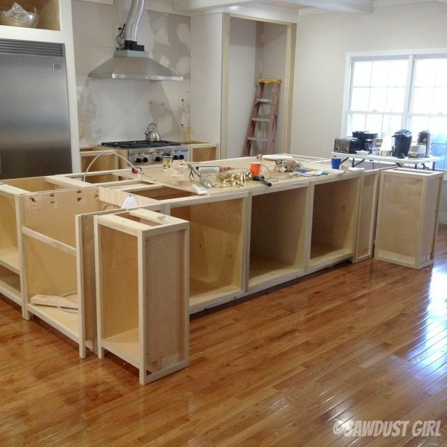Kitchen island sawdust girl for Making a kitchen island from cabinets