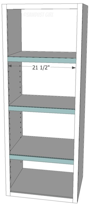 """Free plans for the """"Madison Avenue Bookcase"""" from www.sawdustgirl.com."""
