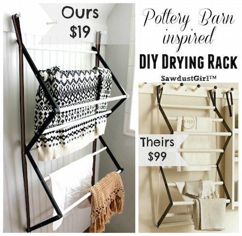 Pottery Barn inspired DIY Drying Rack