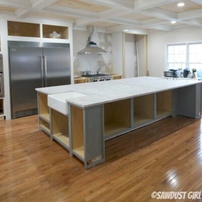 White granite countertops- and cabinet color revealed