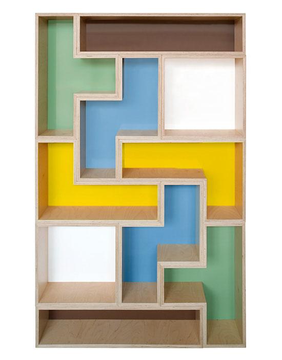 tetris inspired bookshelf - Tetris Planken
