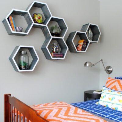Fantastic DIY Honeycomb Shelves