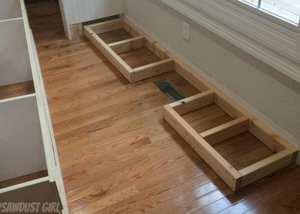 How to install a cabinet base with a floor vent sawdust for Floor kitchen cabinets