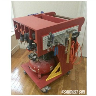 Rolling Tool Cart and Air Compressor Storage - Sawdust Girl®