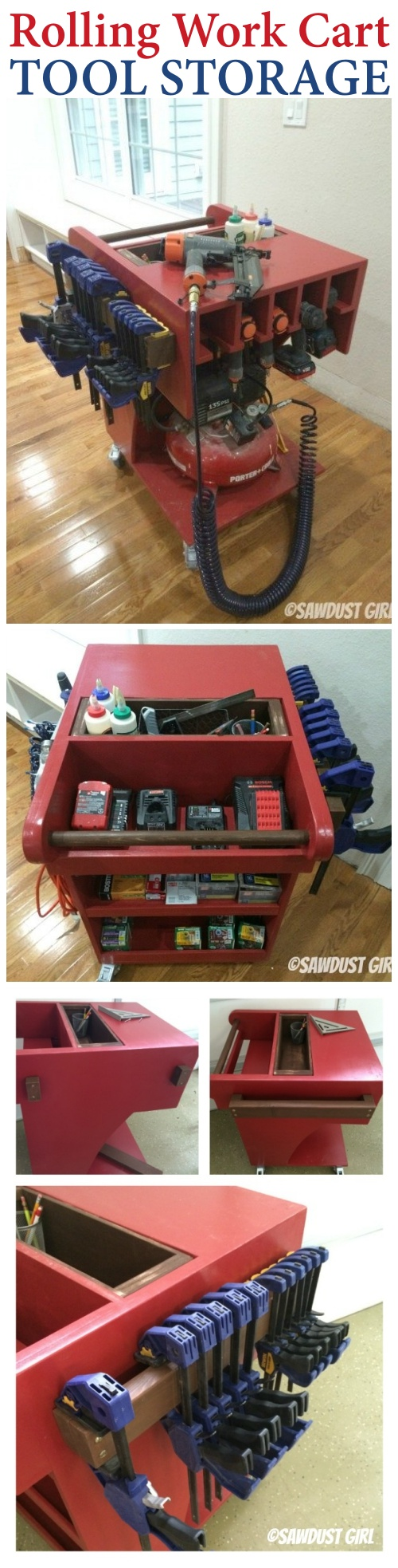 Rolling tool cart with TONS of storage. Free woodworking plans!
