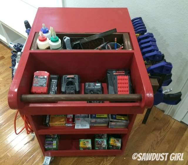 Rolling cart for tool and air compressor storage. Woodworking plans