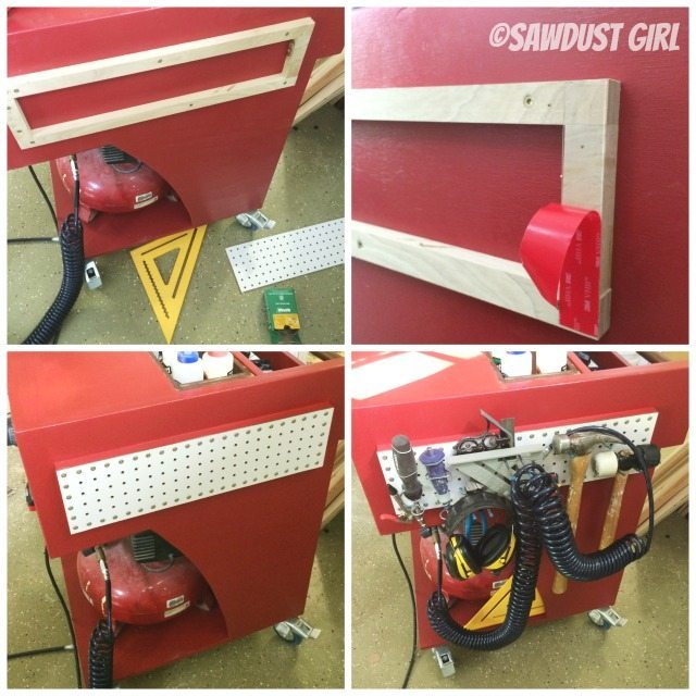 Pegboard storage on diy rolling tool cart