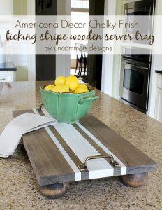 DIY Stripe Wooden Tray Server