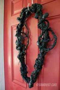 Spooky Halloween Decor – snake entwined coffin wreath