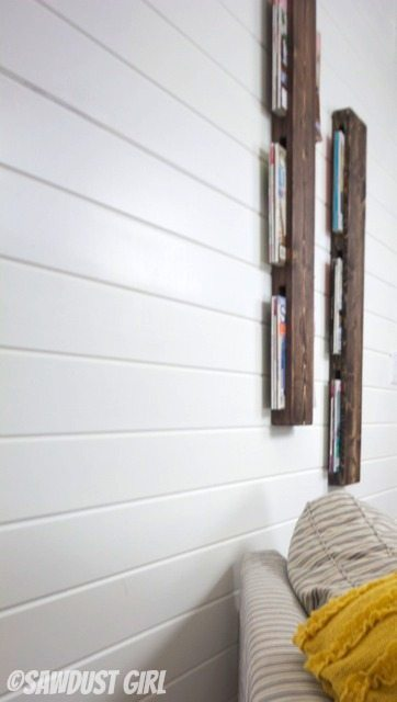 Super cheap and easy wood magazine rack