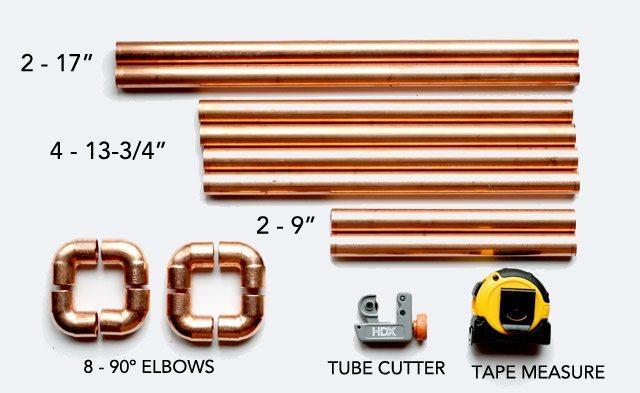 Copper Pipe DIY Magazine Rack - supplies