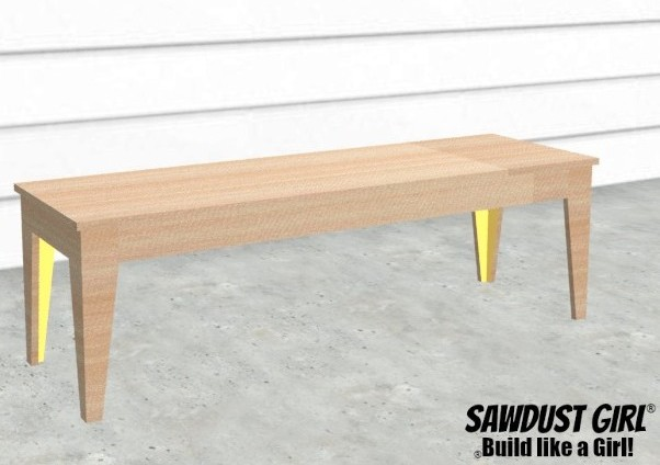 Tapered Leg Bench - Easy DIY Project Build from https://sawdustgirl.com.