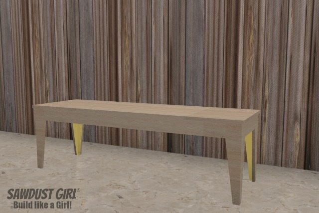 Super easy Tapered Leg Wood Bench plans from https://sawdustgirl.com.