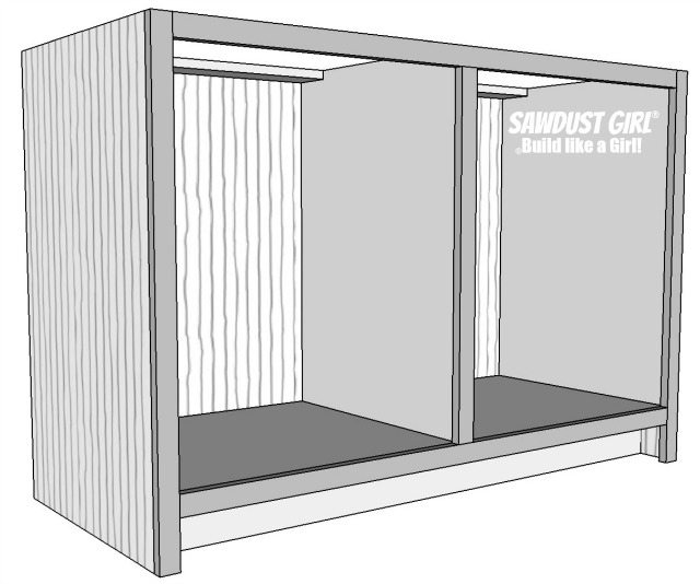 Free and easy plans to build a China Hutch base from https://sawdustgirl.com/