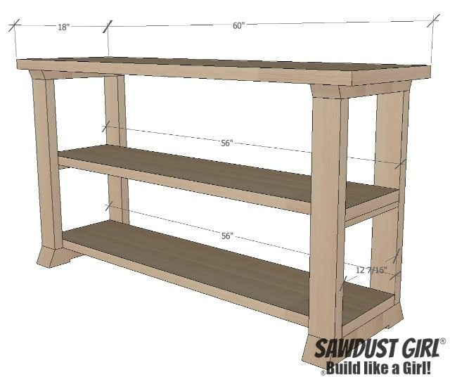 Three shelf console table.