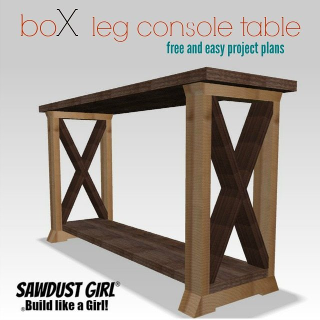 Box leg console table sawdust girl for Box table design