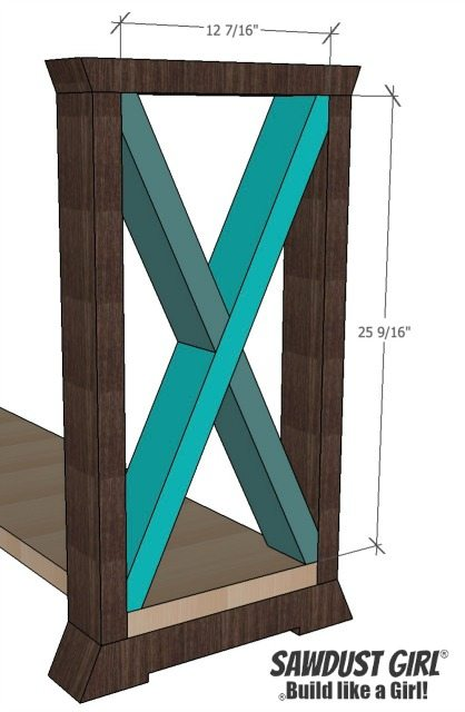 X leg console table - free and easy project plans from sawdustgirl.com