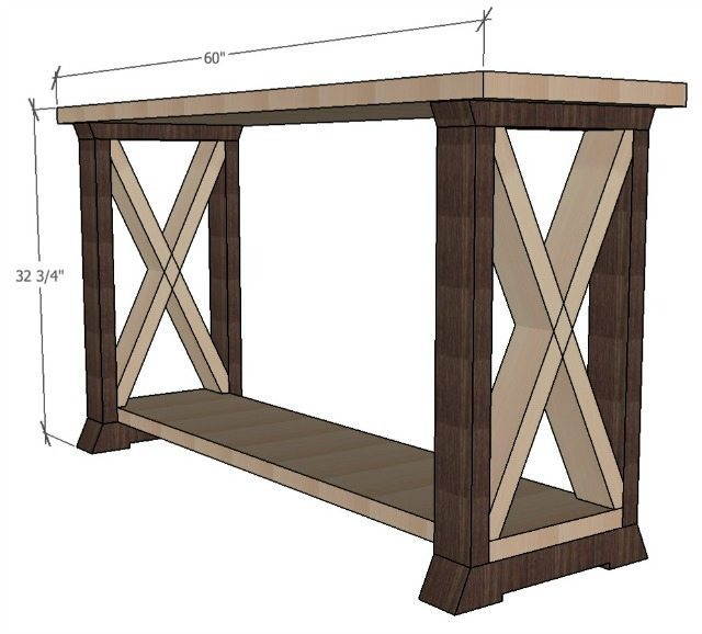 boX leg console table dimensions
