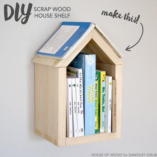 DIY Scrap Wood House Shelf - Sawdust Girl®