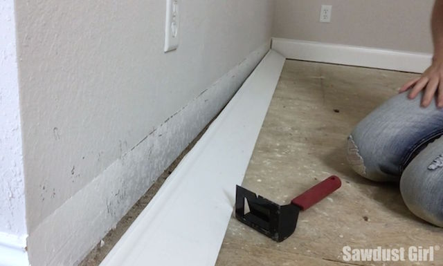 how to cut baseboard on wall