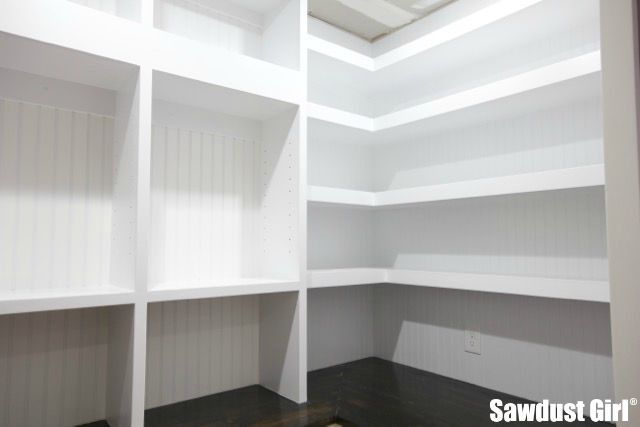 pantry floating shelves sawdust girl rh sawdustgirl com how to build wood shelves in pantry how to build shelving in a pantry