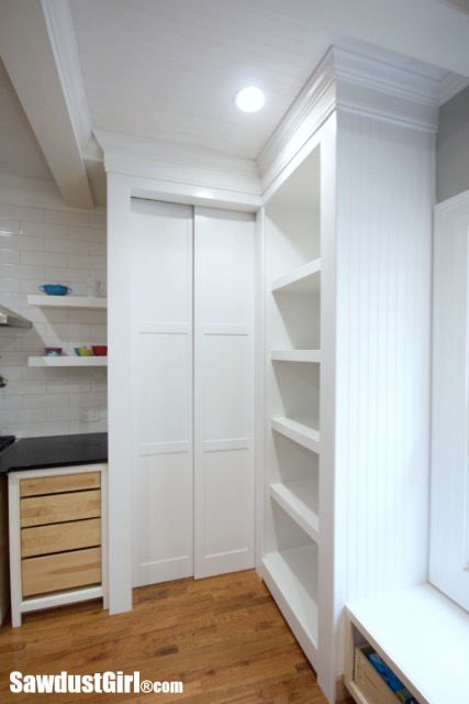 Wood Like Tile Flooring >> Hidden Entrance to Pantry with Pocket Doors - Sawdust Girl®