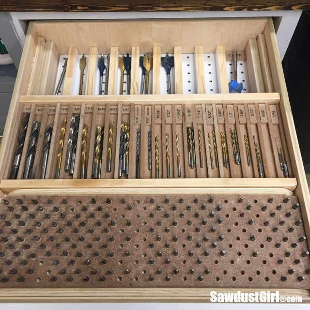 Bit Storage Drawer Organizer with sliding and pull out trays