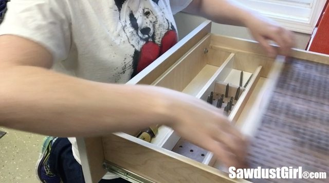 Drawer storage and organizer for driver bits.