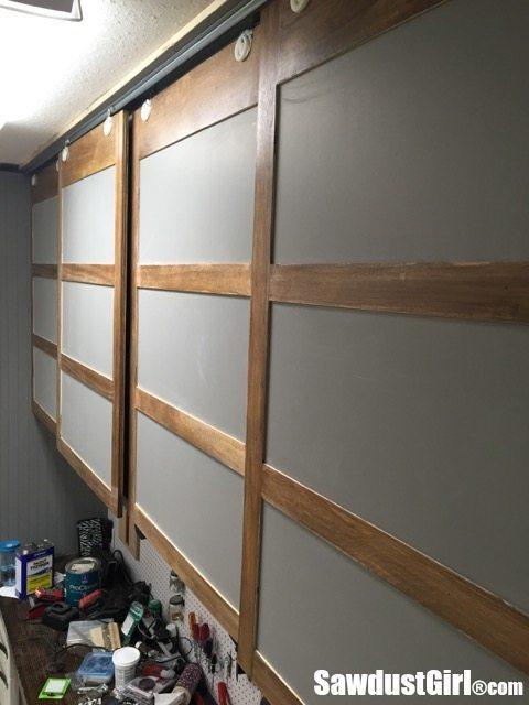 easy diy sliding doors for cabinets sawdust girl. Black Bedroom Furniture Sets. Home Design Ideas