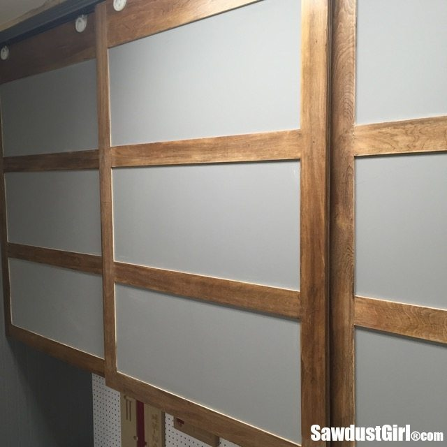 Easy diy sliding doors for cabinets sawdust girl for Diy glass cabinet doors