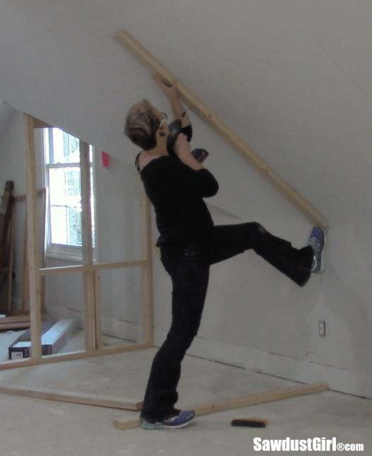 Framing a closet around wonky angled ceilings
